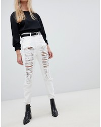 Dr. Denim Nora Super High Rise Mom Jean With Rips Destroyed
