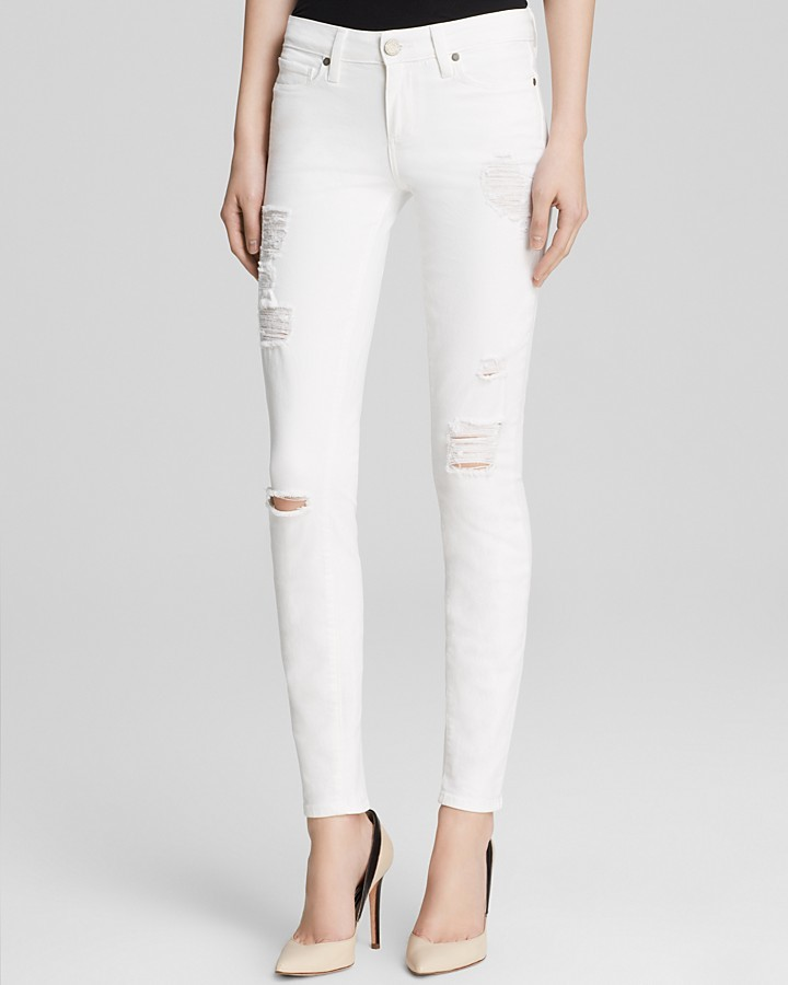 Paige Denim Jeans Verdugo Ultra Skinny In Optic White Destructed ...