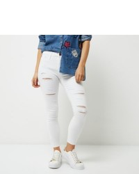 River Island Petite White Ripped Molly Jeggings
