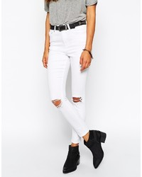 Asos Ridley Jeans Ridley Skinny Ankle Grazer Jeans In White With Rip And Destroy Busts
