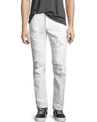 True Religion Rocco Distressed Moto Skinny Jeans Worn Cruiser