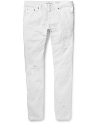 Saint Laurent Skinny Fit 15cm Hem Distressed Denim Jeans