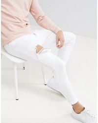 Gym King Super Skinny Jeans In White With Distressing