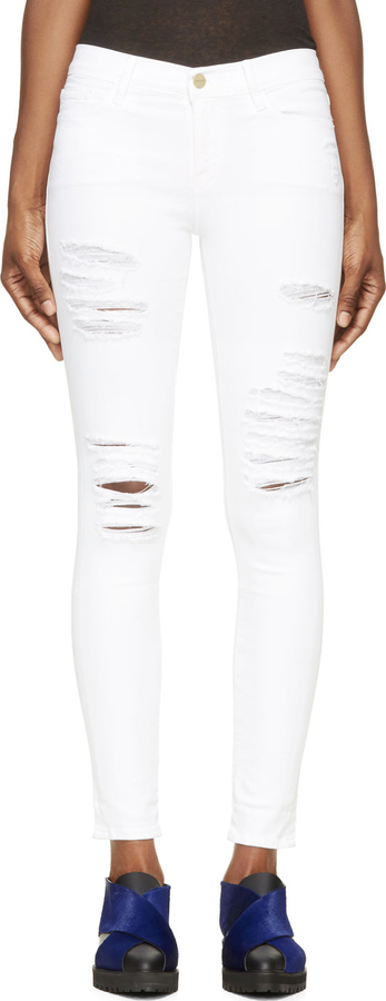 Frame Denim White Distressed Le Skinny De Jeanne Jeans | Where to ...