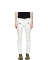 Balmain White Jacquard Zip Slim Jeans