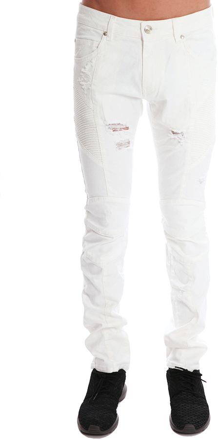 eeba5a95bed Pierre Balmain White Jeans, $437 | Blue & Cream | Lookastic.com