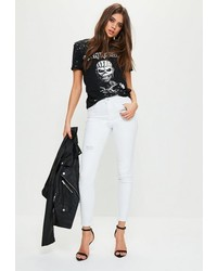 Missguided White Mid Rise Rip Repair Skinny Jeans