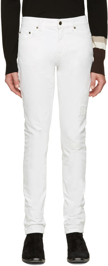 white original distressed jeans Saint Laurent Original Online Outlet Many Kinds Of Outlet With Paypal Outlet Ebay Sale Outlet n5iAqg