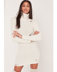 d8483799188b ... Missguided Cream Distressed Turtle Neck Sweater Dress
