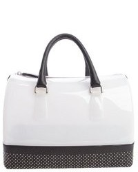 Opaline and onyx black rubber studded leather trim candy satchel medium 79494