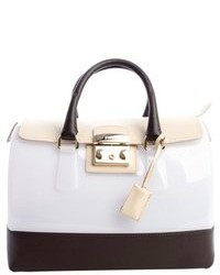 White rubber and brown leather trim candy satchel medium 79495