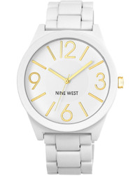 Nine West Matte White Rubberized Adjustable Bracelet Watch 42mm Nw 1678wtwt