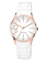 Nine West Watch White Rubber Strap 38mm Nw 1546rgwt