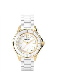 Versus Tokyo Gold Ip White Dial White Rubber Watch