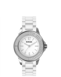 Versus Tokyo White Rubber Silver Dial Crystal Watch