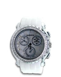 VistaBella Chronograph Cz Stone White Rubber Band Quartz Watch
