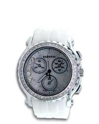 VistaBella Chronograph Cz Stone White Rubber Band Quartz Watch