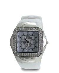 VistaBella Square Cz Bezel Silver Chronograph White Rubber Strap Watch