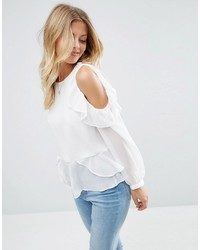 Asos Blouse With Ruffle Cold Shoulder