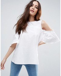 Asos Cotton Swing Top With Cold Shoulder Ruffle