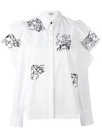 Kenzo Embroidery Ruffle Sleeve Blouse