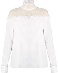Valentino Ruffled Sheer Panel Cotton Top