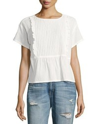 Current/Elliott The Pintuck Ruffle Cotton Top White