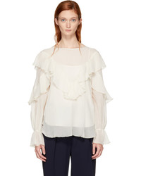 See by Chloe White Ruffled Blouse