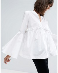 Asos White White Ruffle Yoke Bell Sleeve Top
