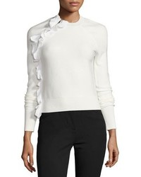 White Ruffle Crew-neck Sweater