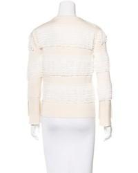 Alexander McQueen Ruffle Trimmed Knit Sweater
