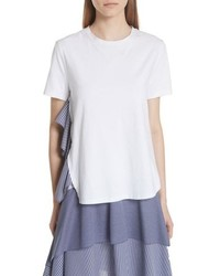 Opening Ceremony Mixed Media Side Ruffle Tee