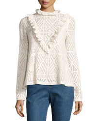 See by Chloe High Neck Crochet Top W Ruffled Trim