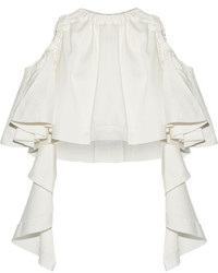 Ellery Baby Cropped Ruffled Cotton Blend Top White