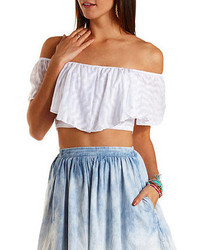 Charlotte Russe Chevron Off The Shoulder Fluttery Crop Top