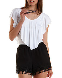 Charlotte Russe Cropped Jersey Knit Flutter Top