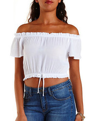 Charlotte Russe Ruffle Off The Shoulder Crop Top
