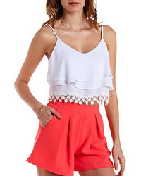 Charlotte Russe Tiered Crochet Trim Crop Top