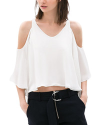 ChicNova Round Neck Off The Shoulder Flouncing Hem White Chiffon Tank