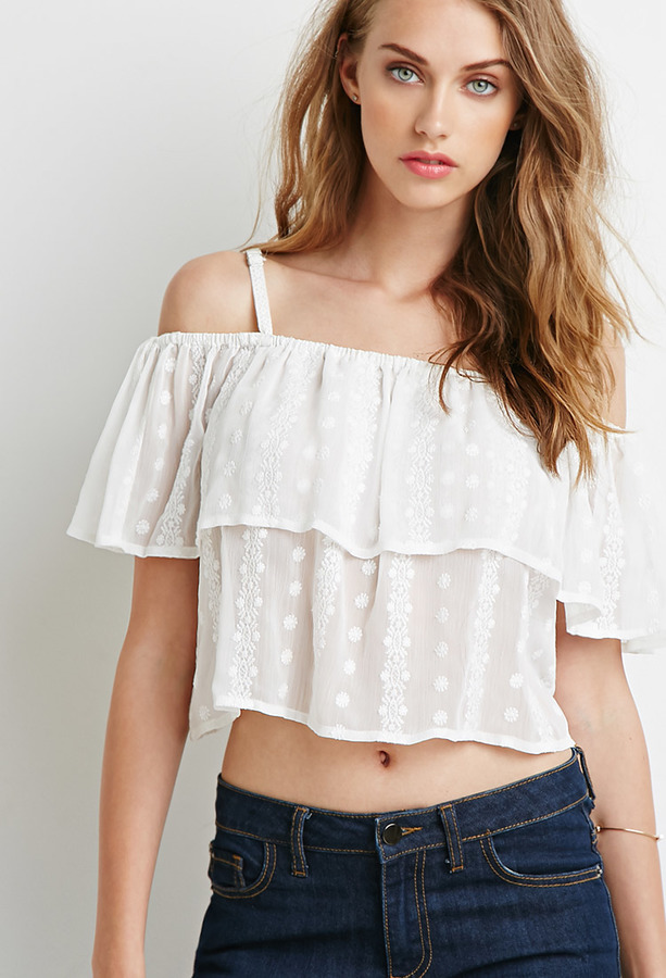 962c29b88a9 ... White Ruffle Cropped Tops Forever 21 Floral Embroidered Flounce Cami ...