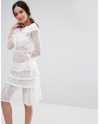 Missguided Tiered Ruffle Midi Dress