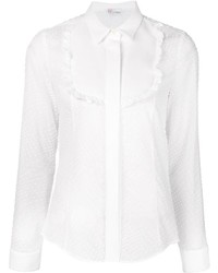 Red valentino ruffle bib shirt medium 374452