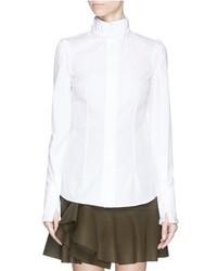 Alexander McQueen Ruffle Trim High Collar Poplin Shirt