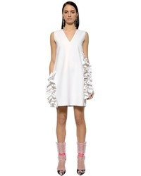 MSGM Embellished Ruffles Double Crepe Dress