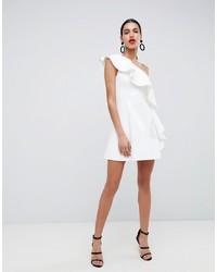 ASOS DESIGN One Shoulder Ruffle A Line Mini Dress