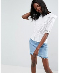 Asos Cotton Ruffle Front Top With Lace And Pintuck Detail