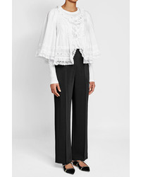 Burberry Cotton Top With Lace Ruffles