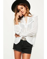 Missguided White Lace Trim Ruffle Shoulder Sheer Blouse