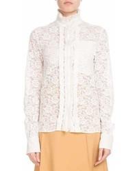 Chloé Chloe Long Sleeve Mock Neck Button Front Floral Lace Blouse