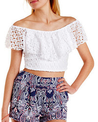 eb71e2db3c2b0 Women s White Ruffle Lace Off Shoulder Tops by Charlotte Russe ...